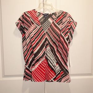 CHAPS Sheer Striped Sleeveless Red Black Top XL